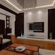 中式风格两室一厅客厅装修效果图4
