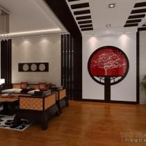 中式风格两室一厅客厅装修效果图1