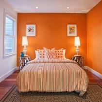 欧式卧室装修效果图 卧室橙色墙装修效果图5