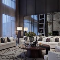 别墅样板房客厅沙发背景墙效果图9