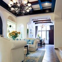 别墅样板房客厅沙发背景墙效果图8