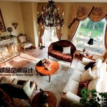 豪华美式别墅客厅装修效果图14