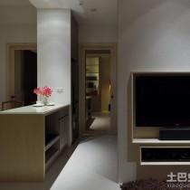 简约60平米二居嵌入式电视墙效果图2
