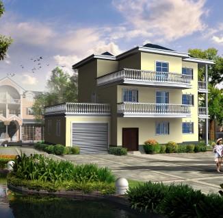 12×10二层二层带堂屋落地窗大方农村别墅设计图(含效果图)_e墅网图片