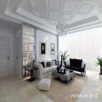 简欧客厅装修效果图 客厅石膏板吊顶效果图