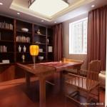 中式风格书房装修图片 中式书房窗帘装修效果图