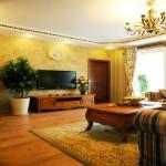 最新欧式田园风格客厅电视背景墙装修效果图