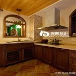 家装厨房实木橱柜效果图