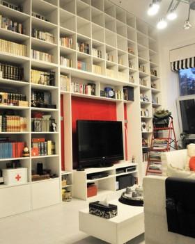 白色电视背景墙书柜装修效果图大全2016图片_白色电视图片