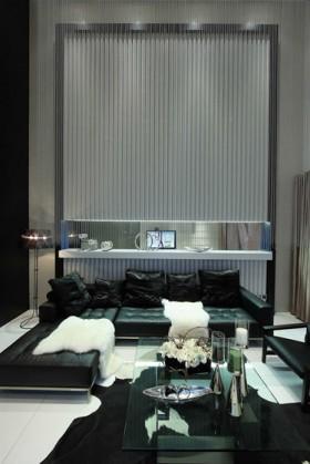 灵动空间 黑白奢华复式家居设计