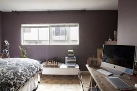 紫色卧室书桌装修效果图