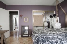 卧室紫色背景墙装修效果图
