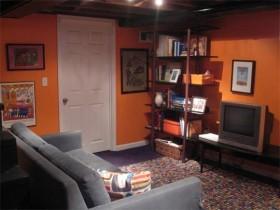 书架橙色背景墙装修效果图