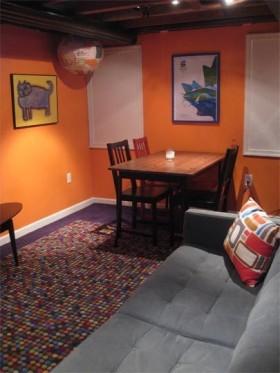 橙色背景墙餐桌装修效果图