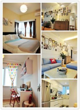 原木家具照片墙 54平宜家风二居室婚房