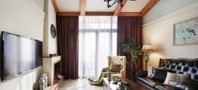 130平客厅唯美窗帘效果图