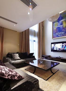 简约风格客厅窗帘装修效果图大全2015图片
