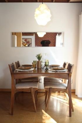 复式餐厅背景墙餐桌装修效果图416