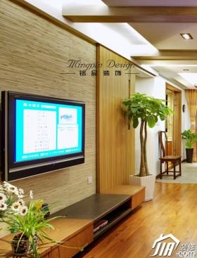 新古典风格客厅100平米电视背景墙原木色装修效果图
