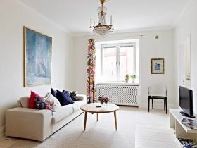 60平米白色客厅装修效果图