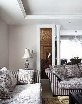 空间欧式风格跃层沙发背景墙灯具装修效果图大全2016