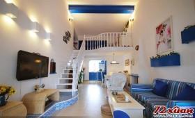 卧室通透、明亮、宽敞、随意,米黄色的墙漆和辅助色调的蓝似乎带来海滨微微吹过的风,沁人心脾。