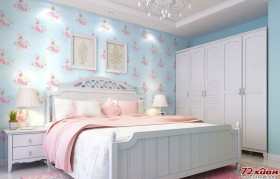 浅蓝色给人的感觉是安静、自然。用在卧室中作为基本色调,可以让睡觉也感受到自然的气氛。