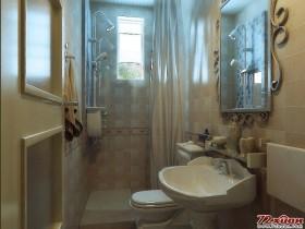 窗户采用了磨砂玻璃,而不采用窗帘,能扩大采光的范围,并且通过计算划分了卫生间的格局空间,尽量使卫生间