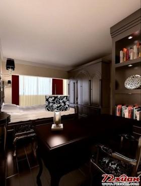 卧室一角开辟的书房空间。
