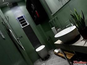 深绿色的卫生间。