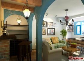 房间的色彩搭配上将重点运用在了地面和小吧的墙上,小吧墙面采用做旧的效果,黄色的墙面斑驳的印记带着一丝
