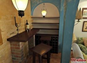 接着在进门处设计了一个两门的墙,目的在于将靠墙的吧台和酒柜在视觉上和客厅有所区别。