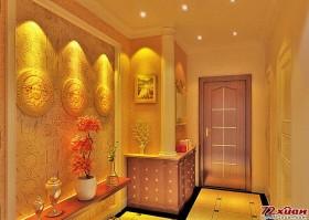 入门过道和客厅部分墙面使用砂岩来塑造现代欧式的厚重感。