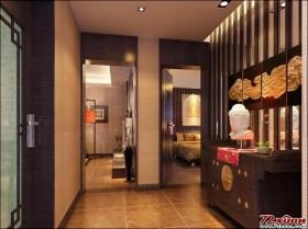 玄关处是古朴的鞋柜,首先映入眼帘的是独具特色的砖雕,精雕细刻,以清新淡雅的荷花为元素。借助灯光的映照