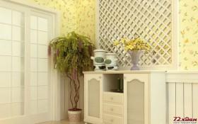 韩式田园家装偏爱带有现代感的、花朵图案的淡雅壁纸,它与线条柔美的白色家具很和谐。