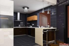 深灰色的厨房像一个小盒子,将饭菜盛入其中。