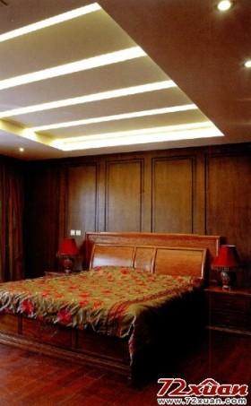 卧室背景墙原木色欧式图案点缀中式大气风格