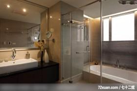 权释_27_台北市,春雨时尚空间设计,周建志,浴室,干湿分离隔间,汤屋,收纳柜,观景窗,洗脸台面,
