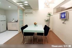 肯设计_04_北市,东易日盛亚奥工作室,田伟,餐厅,冷气摆放设计,弹性隔间,造型天花板,穿透设计,拉