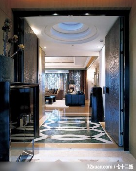 注重空间气势的混搭设计,北京上尚格室内设计有限公司,张永雷,玄关,造型天花板,二进式玄关门,造型地板