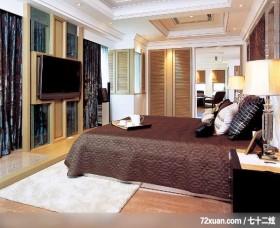 注重空间气势的混搭设计,北京上尚格室内设计有限公司,张永雷,卧室,电视柜,造型衣橱,床头柜,垫高地板