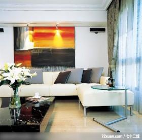 格局一变换新颜,东易日盛CBD工作室,李文剑,客厅,造型沙发背墙,卧榻,阳台外推,造型灯光,