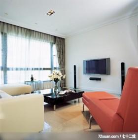 格局一变换新颜,东易日盛CBD工作室,李文剑,客厅,造型电视主墙,阳台落地窗,
