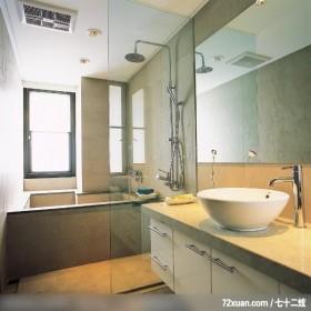 格局一变换新颜,东易日盛CBD工作室,李文剑,浴室,洗脸台面,收纳柜,干湿分离隔间,穿透设计,汤屋,