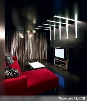 水墨空间,东易日盛亚奥工作室,石海峰,客厅,阳台落地窗,造型电视主墙,造型灯光,