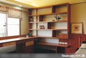 觐得_66_林口,艺堂室内设计,李燕堂,卧室,造型天花板,书柜,阅读区,床头柜,