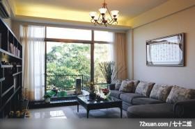 觐得_66_林口,艺堂室内设计,李燕堂,客厅,书墙,造型天花板,阳台落地窗,