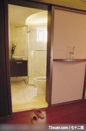 功苑_08,墨比雅设计团队,王思文,浴室,收纳柜,洗脸台面,干湿分离隔间,造型天花板,