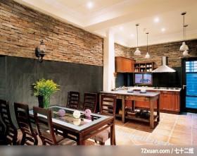 温馨乡间情调空间,龙发,李月新,餐厅,造型主墙,隔间吧台,餐具收纳柜,造型灯光,造型天花板,