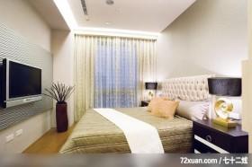 古典设计风格,龙发,王晶,卧室,冷气摆放设计,电视墙,造型天花板,床头柜,阳台落地窗,